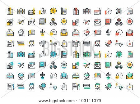 Flat line colorful icons collection of business essentials