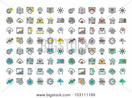 Flat line colorful icons collection of website and app development
