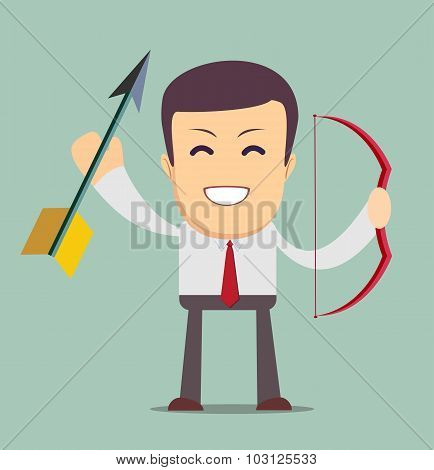 businessman with bow and arrow, isolated on background.