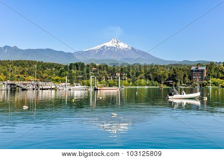 Reflection Of Villarrica Volcano, Pucon, Chile