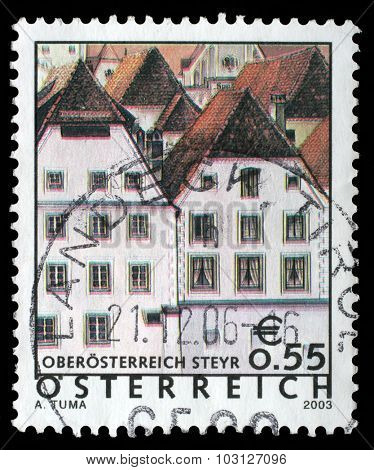 AUSTRIA - CIRCA 2003: A stamp printed in Austria shows image of the Sankt Ulrich bei Steyr is a municipality in the district of Steyr-Land in Upper Austria, Austria, circa 2003.
