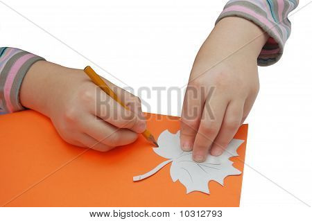 Child Hands Draws A Leaf With Pencil And Stencil