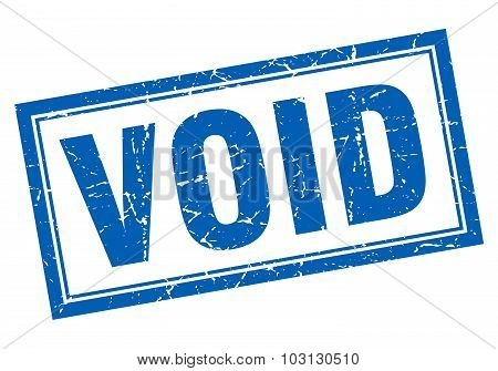 Void Blue Square Grunge Stamp On White