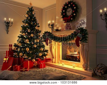 New interior with Christmas tree, presents and fireplace. Postcard.