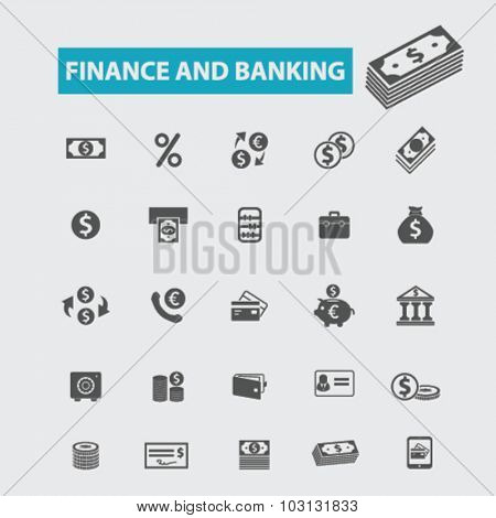 finance, banking, investment icons