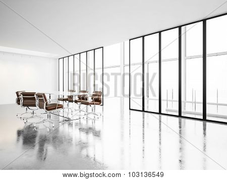 Modern meeting room with panoramic windows. 3d render