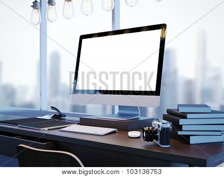 Mock up of modern workspace with panoramic windows. 3D rendering