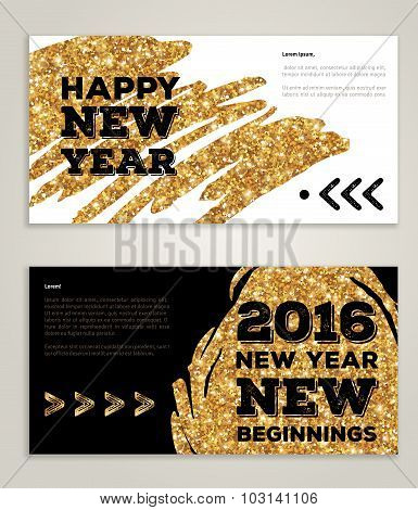 New Year 2016 artistic invitations with trendy golden paint stain