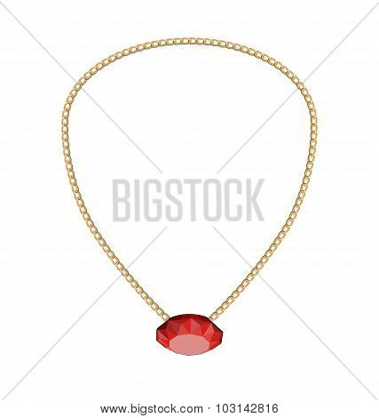 Jewelry Golden Chain with Red Diamand