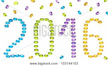 New Year 2015. Placer Of Colorful Precious Stones