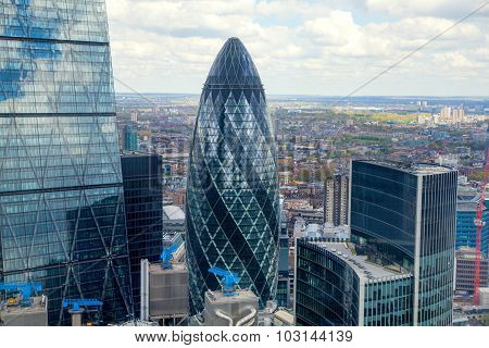 LONDON, UK - SEPTEMBER 17, 2015: City of London aerial view, office buildings and streets. London pa