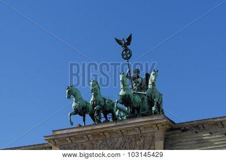 Top of the brandenburg gate / Quadriga Berlin Germany