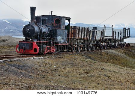 Old industrial train in Ny Alesund, Spitzbergen