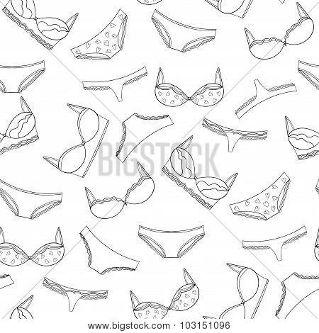 Seamless underwear pattern. Vector bras and panties design.