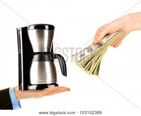 Coffee machine and money on hands- pawnshop concept