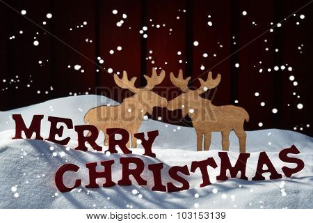 Card, Red Letter, Moose Couple, Snow Merry Christmas, Snowflakes