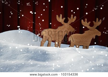 Christmas Card On Snow, Moose Coyple  And Copy Space, Snowflakes