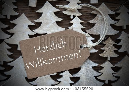 Brown Christmas Label Willkommen Mean Welcome
