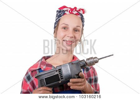 Vintage Pretty Young Woman With A Drill On The White Background