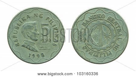Philippine Five Peso Coins Isolated On White