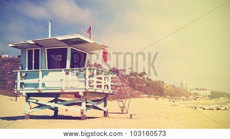 Retro Stylized Lifeguard Tower In Santa Monica At Sunset, Usa.