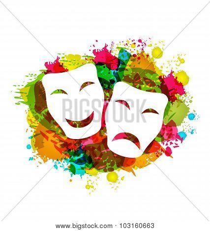 Comedy and tragedy simple masks for Carnival on colorful grunge