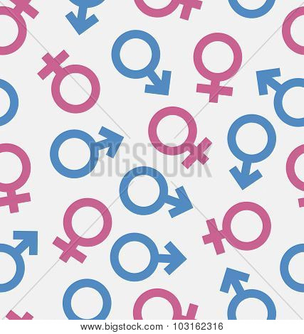 Seamless Pattern of Gender Icons, Wallpaper of Male and Female s