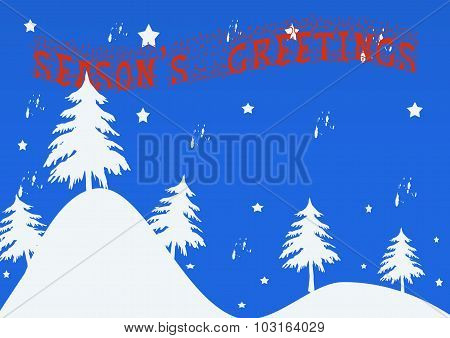 Winter Landscape With Season's Greetings