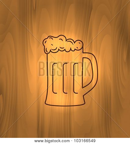 Mug Beer Foam Scorch Wooden Table