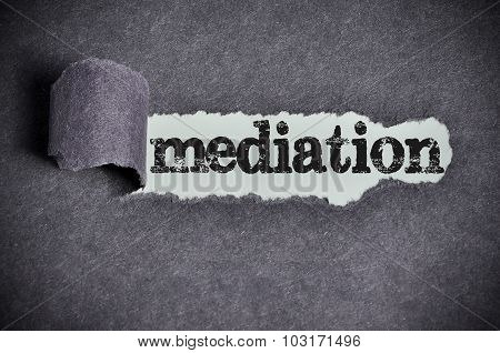 Mediation Word Under Torn Black Sugar Paper