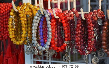 Coral Beads And Bracelets For Sale In Legian Shop, Bali.