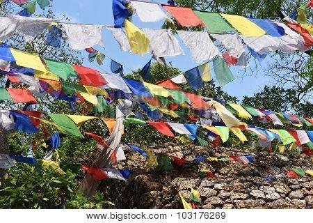 Closed Up The Prayer Flagg In Swayambhunath , Nepal