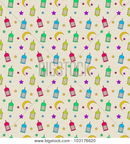 Oriental Seamless Pattern with Arabic Lamps, Crescents, Stars