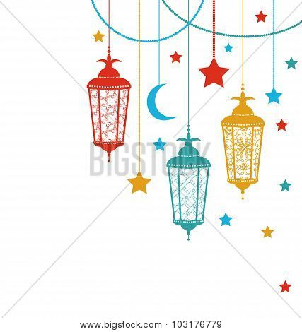 Illustration Ramadan Kareem Background with Lamps and Stars