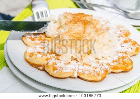 Waffles With Rice Pudding