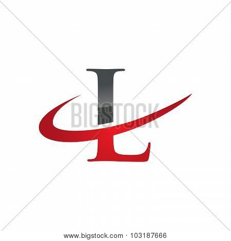 Initial letter L company swoosh logo red