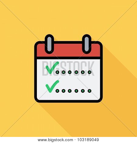 Calendar with chek icon. Flat vector related icon with long shadow for web and mobile applications.