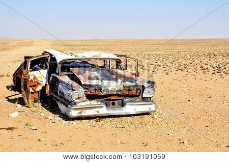 Car Wreck Abandoned in the Desert