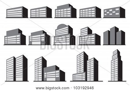 High-rise Office Building Blocks Vector Icon Set