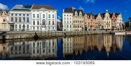 Panorama of Belgium medieval european town with canal. Koperlei street, Ghent, Belgium