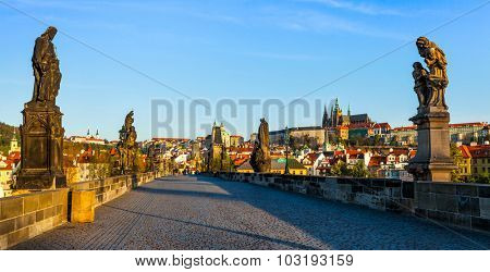 Panorama of Charles bridge and Prague castle in the early morning. Prague, Czech Republic