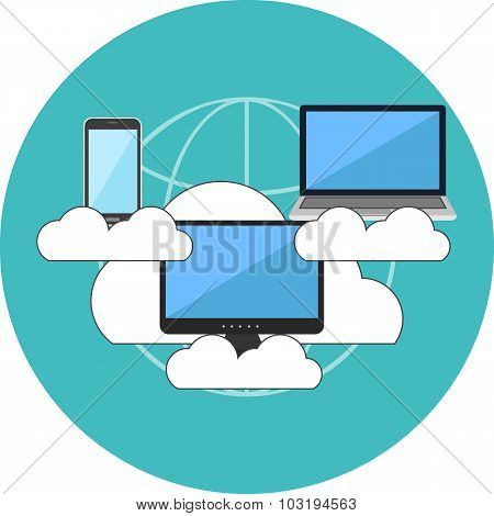 Cloud Computing Concept. Flat Design.