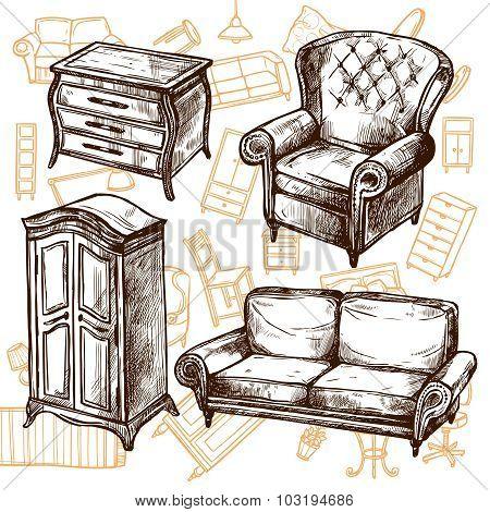 Furniture Sketch Seamless Concept