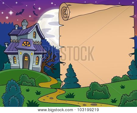 Parchment with haunted house thematics 5 - eps10 vector illustration.