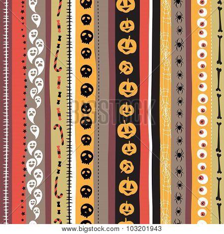 Seamless pattern Vintage Happy Halloween. Flat style. Halloween