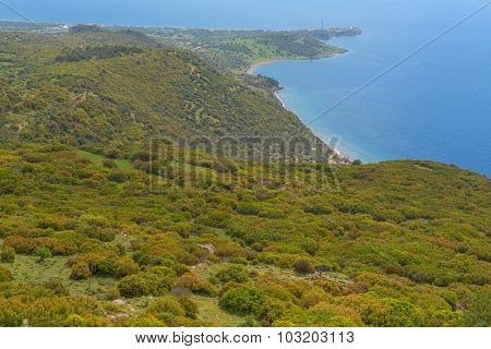 Mediterranian seashore landscape aerial view green sea coast