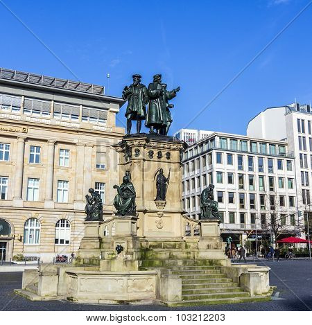 Johannes Gutenberg Monument On The Southern Rossmarkt