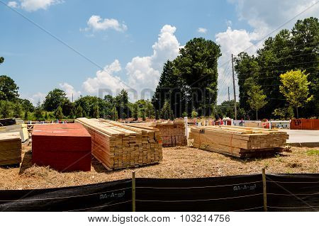 Lumber At Residential Construction Site