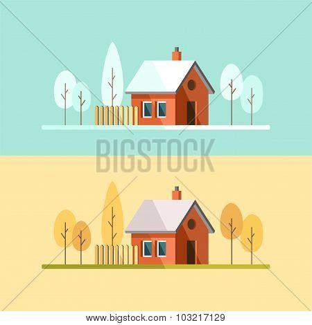 Winter House Autumn House Family Suburban Home