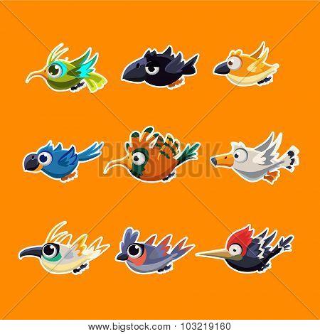 Cute Flying Birds Vector Illustration Set